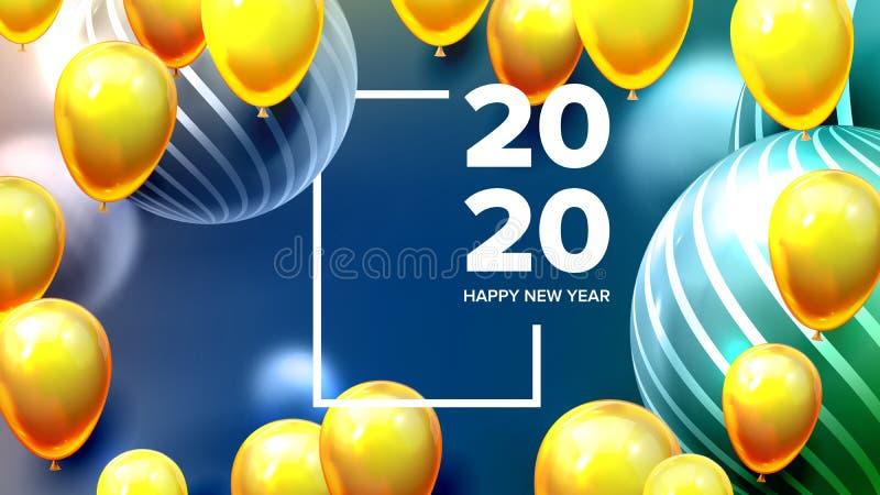 Φωτεινός προσκαλέστε το διάνυσμα εμβλημάτων καλής χρονιάς καρτών διανυσματική απεικόνιση