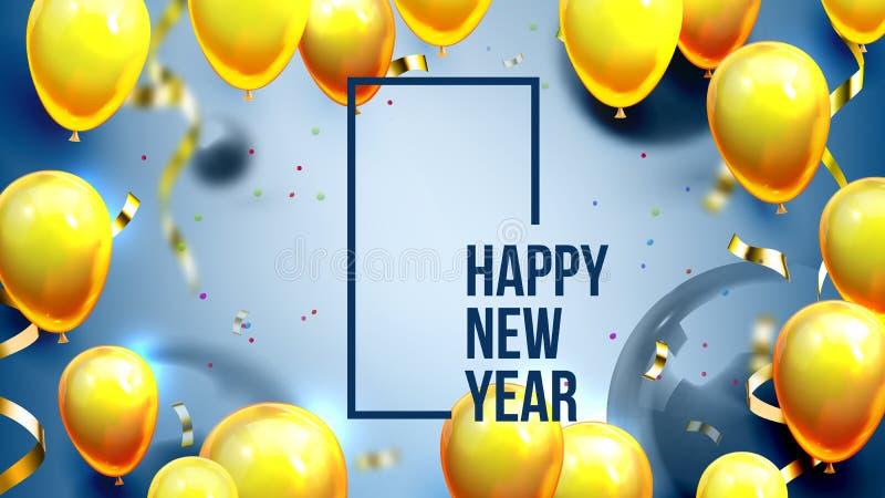 Φωτεινός προσκαλέστε το διάνυσμα εμβλημάτων καλής χρονιάς καρτών απεικόνιση αποθεμάτων