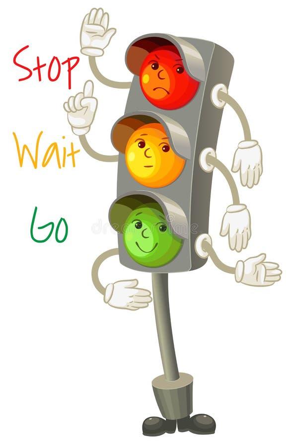 Φωτεινός σηματοδότης. Ακολουθήστε τους κανόνες του δρόμου. Κανόνες για το pedestria απεικόνιση αποθεμάτων