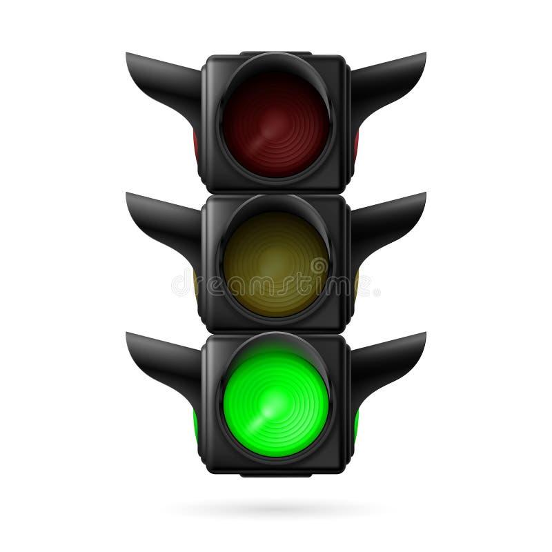 Φωτεινός σηματοδότης με τον πράσινο λαμπτήρα διανυσματική απεικόνιση