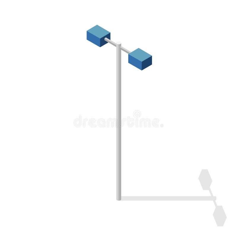 Φωτεινός σηματοδότης, πληροφορίες γραφικές Isometric μπλε λαμπτήρας Εικονόγραμμα εξοπλισμού οδών διανυσματική απεικόνιση