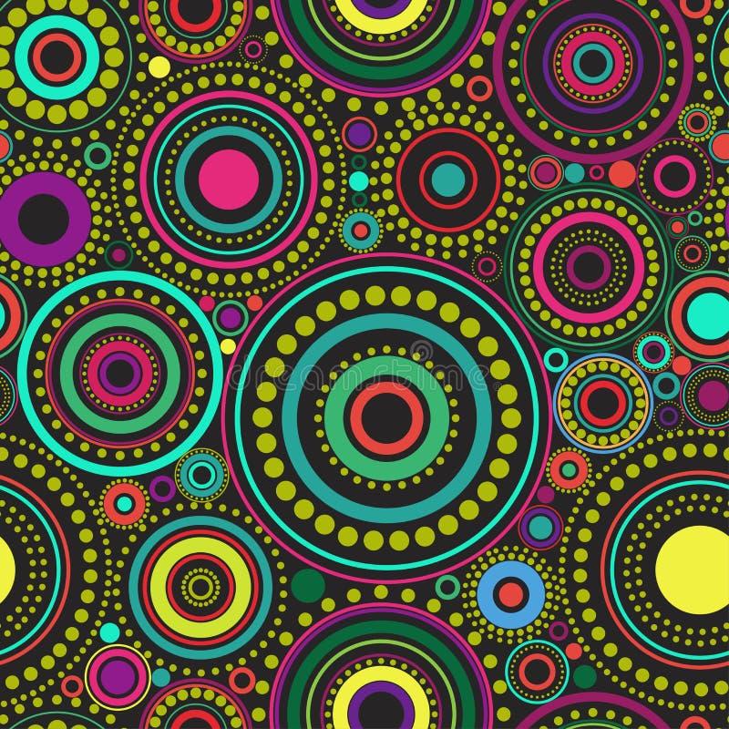 Φωτεινό άνευ ραφής αφηρημένο σχέδιο των ζωηρόχρωμων κύκλων και των σημείων στο μαύρο υπόβαθρο Σκηνικό καλειδοσκόπιων διανυσματική απεικόνιση