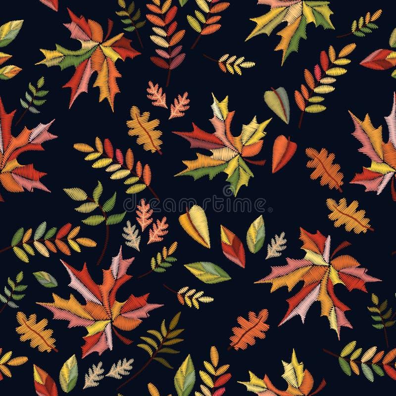 Φωτεινό άνευ ραφής σχέδιο κεντητικής με τα ζωηρόχρωμα φύλλα φθινοπώρου στο μαύρο υπόβαθρο διανυσματική απεικόνιση