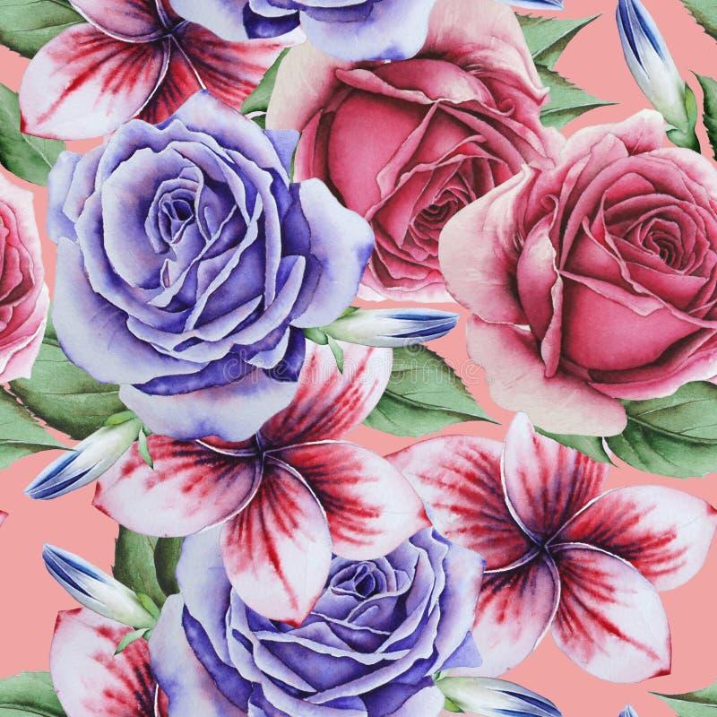 Φωτεινό άνευ ραφής σχέδιο με τα λουλούδια Αυξήθηκε Κρόκος m ελεύθερη απεικόνιση δικαιώματος