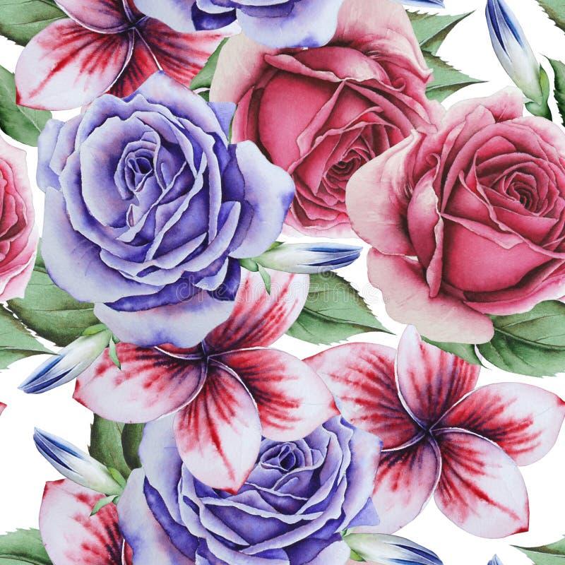 Φωτεινό άνευ ραφής σχέδιο με τα λουλούδια Αυξήθηκε Κρόκος m απεικόνιση αποθεμάτων