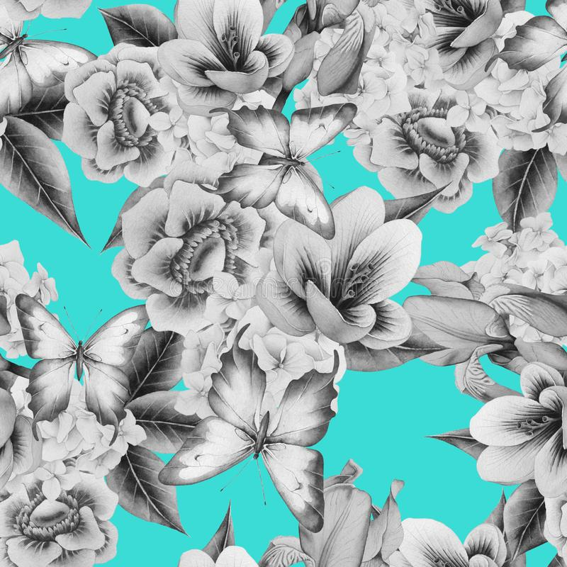 Φωτεινό άνευ ραφής σχέδιο με τα λουλούδια Κρόκος Anemone Iris m διανυσματική απεικόνιση