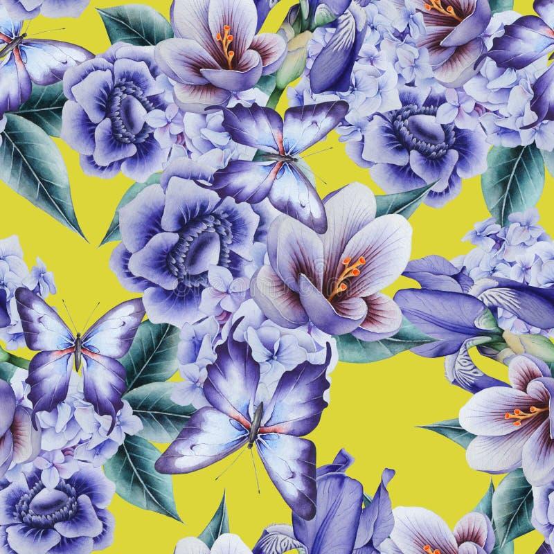 Φωτεινό άνευ ραφής σχέδιο με τα λουλούδια Κρόκος Anemone Iris m ελεύθερη απεικόνιση δικαιώματος