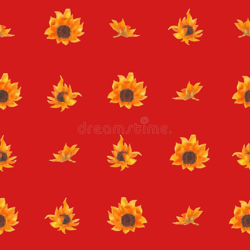Φωτεινό άνευ ραφής σχέδιο με τους ηλίανθους Συρμένα χέρι λουλούδια watercolor διανυσματική απεικόνιση