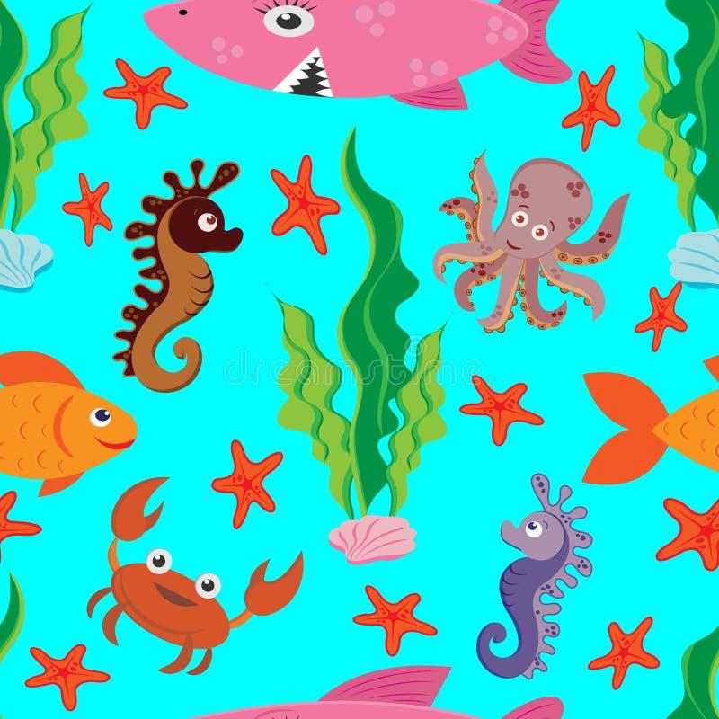 Φωτεινό άνευ ραφής σχέδιο των χρωματισμένων αριθμών της θαλάσσιας ζωής: μεγάλος ρόδινος καρχαρίας, ψάρια, καβούρι, χταπόδι, seaho απεικόνιση αποθεμάτων