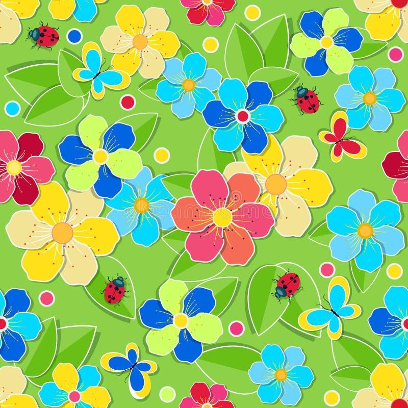 Φωτεινό άνευ ραφής σχέδιο με τα φύλλα, λουλούδια, πεταλούδες ελεύθερη απεικόνιση δικαιώματος