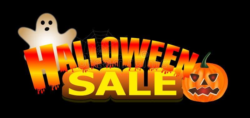 Φωτεινό έμβλημα κειμένων πώλησης αποκριών νέου με την κολοκύθα και φάντασμα στο μαύρο υπόβαθρο διάνυσμα διανυσματική απεικόνιση