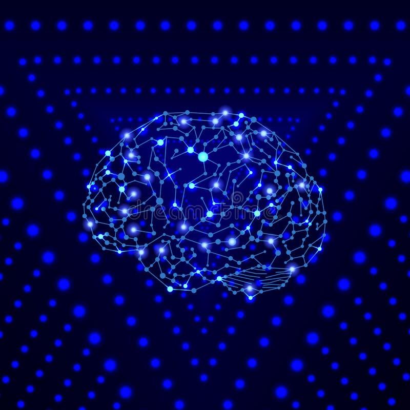 Φωτεινό ανθρώπινο μυαλό με άνυσμα στο φωτεινό μπλε φόντο, σε επιλεγμένες κουκκίδες περιγράμματος επιφάνειας, σε πολύχρωμο πρότυπο απεικόνιση αποθεμάτων