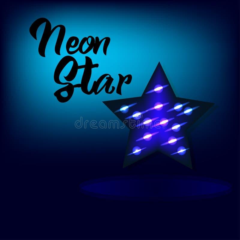 Φωτεινό αστέρι νέου για το υπόβαθρο στο μπλε χρώμα απεικόνιση αποθεμάτων