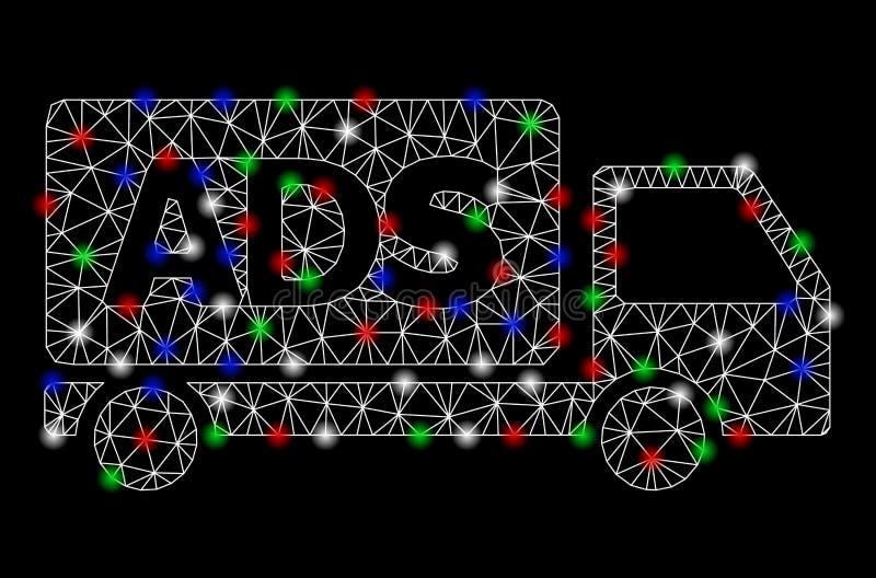 Φωτεινό αυτοκίνητο διαφημίσεων πλαισίων καλωδίων πλέγματος με τα σημ διανυσματική απεικόνιση