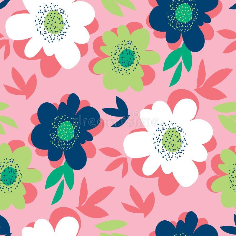 Φωτεινό αφηρημένο άνευ ραφής σχέδιο λουλουδιών διανυσματική απεικόνιση