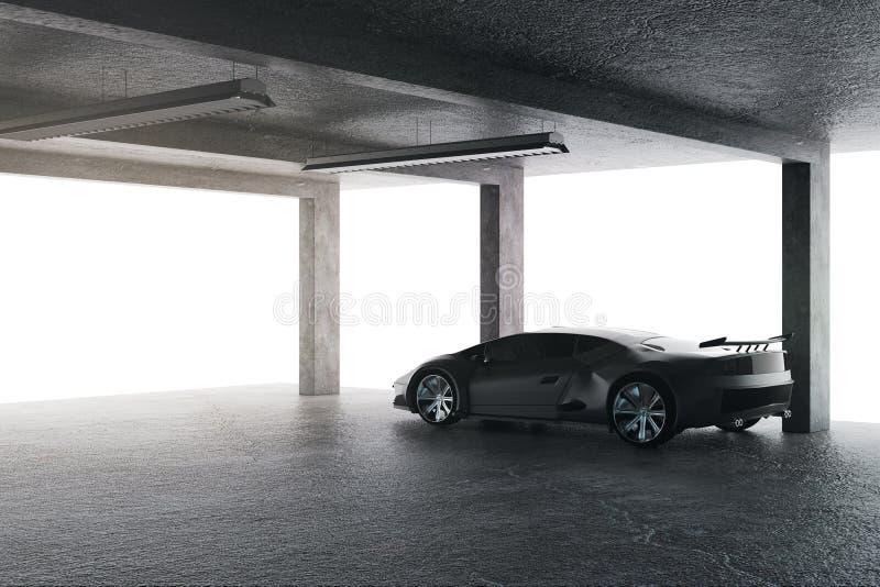 Φωτεινό γκαράζ με το αυτοκίνητο ελεύθερη απεικόνιση δικαιώματος