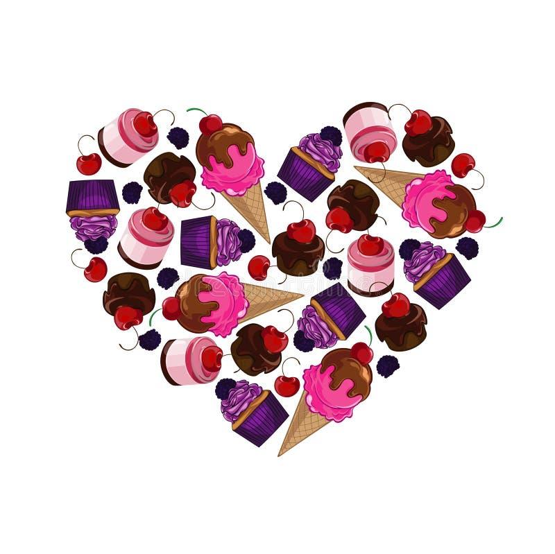 Φωτεινό, γλυκό στοιχείο σχεδίου γλυκό καρδιών στοκ εικόνες