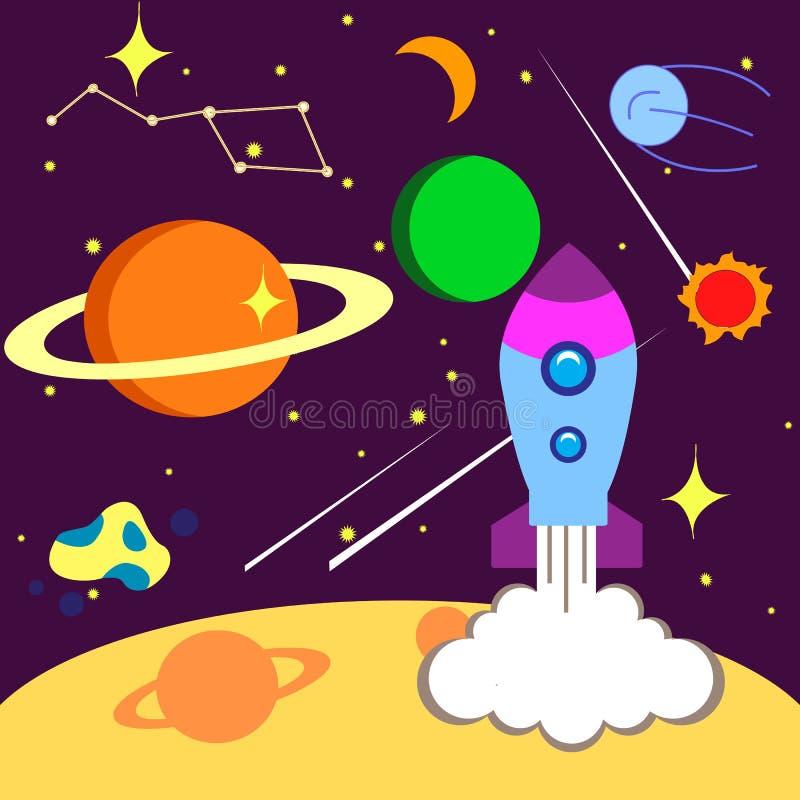 Φωτεινό διάστημα καρτών, με την εικόνα κομήτες, αστέρια, πύραυλοι, πλανήτες, διανυσματική απεικόνιση