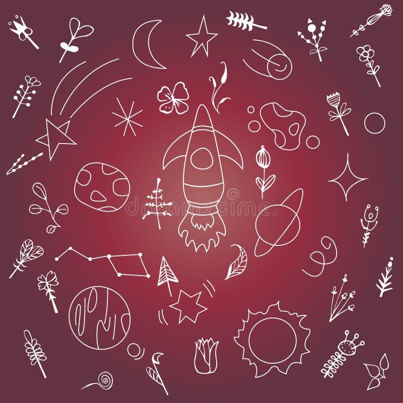 Φωτεινό διάστημα καρτών, με την εικόνα κομήτες, αστέρια, πύραυλοι, πλανήτες, ελεύθερη απεικόνιση δικαιώματος
