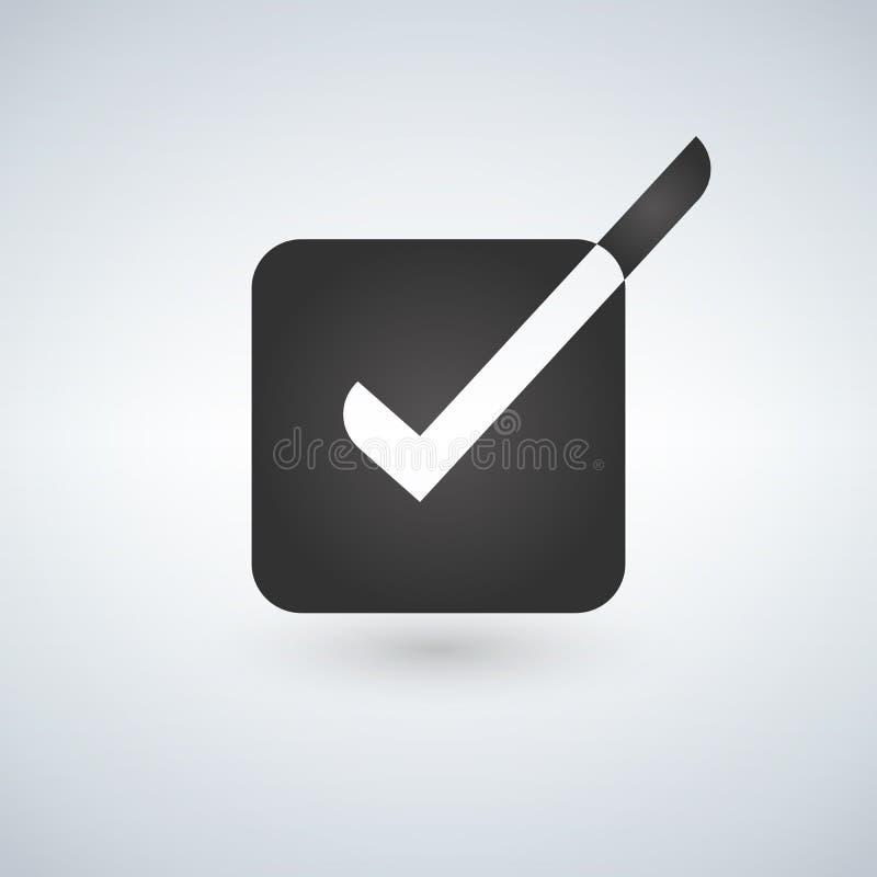 Φωτεινό εικονίδιο παραθύρων ελέγχου με άσπρο και μαύρο checkmark απεικόνιση διανυσματική απεικόνιση