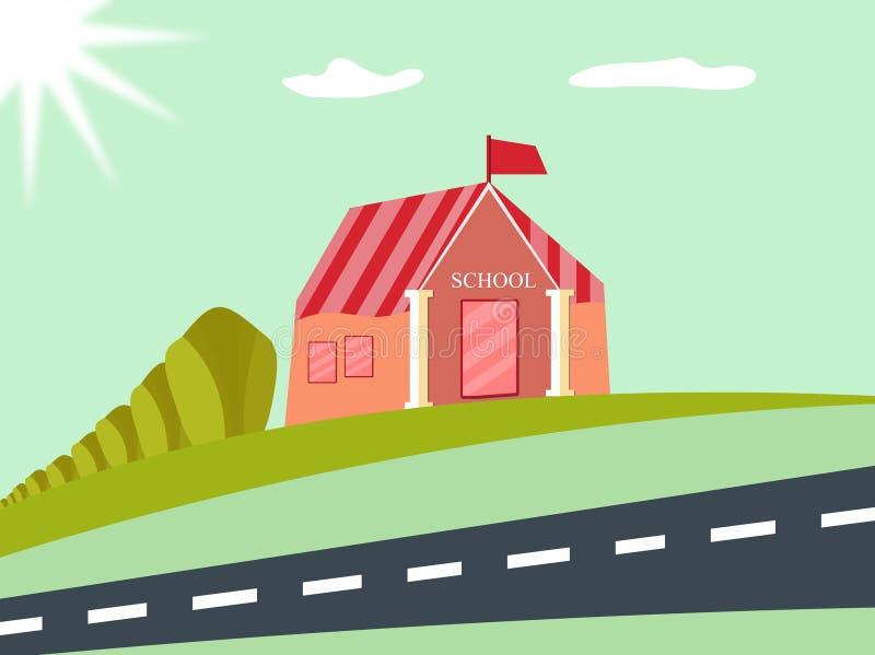 Φωτεινό επίπεδο του σχολικού κτιρίου για πίσω στο σχέδιο σχολικών αφισών Διάνυσμα και απεικόνιση σχεδίου απεικόνιση αποθεμάτων