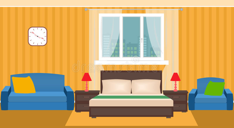 Φωτεινό εσωτερικό κρεβατοκάμαρων με τα έπιπλα και το παράθυρο ελεύθερη απεικόνιση δικαιώματος