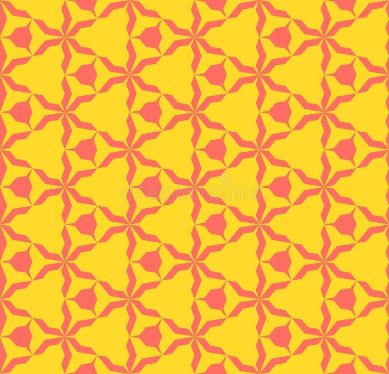 Φωτεινό ζωηρόχρωμο αφηρημένο γεωμετρικό άνευ ραφής σχέδιο Κοράλλι και κίτρινο χρώμα διανυσματική απεικόνιση