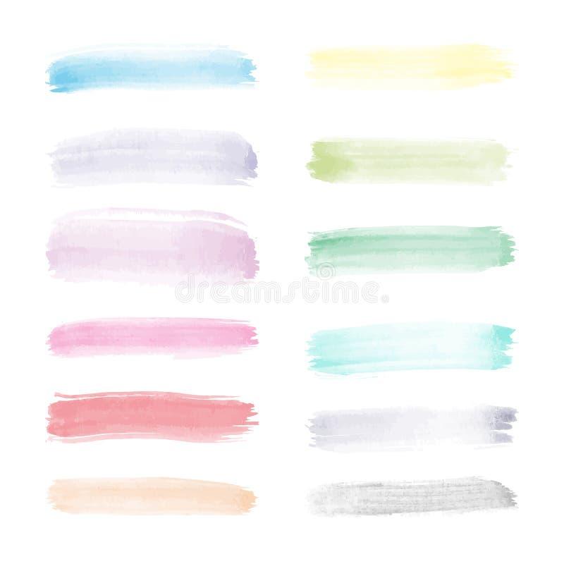 Φωτεινό διαφανές διανυσματικό σύνολο watercolor κτυπημάτων βουρτσών στα πλήρη χρώματα φάσματος διανυσματική απεικόνιση
