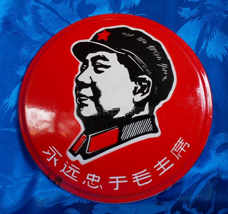 Φωτεινό κόκκινο κουμπί εκστρατείας Zedong Mao στοκ φωτογραφίες