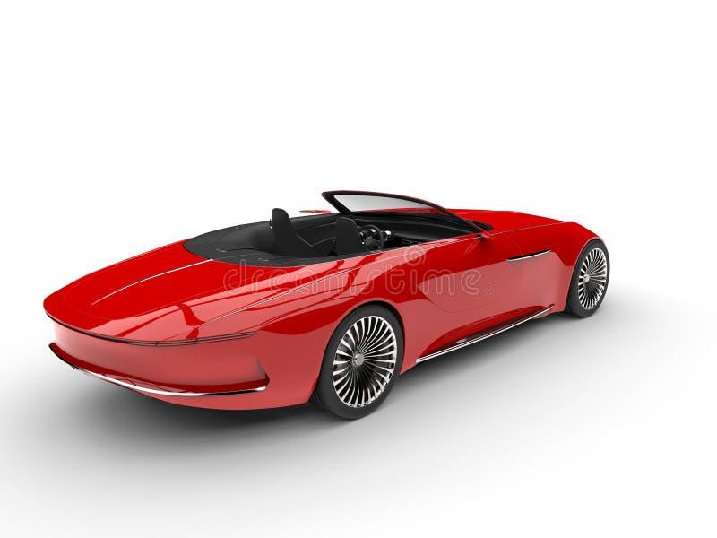 Φωτεινό κόκκινο σύγχρονο αυτοκίνητο έννοιας καμπριολέ - άποψη ουρών απεικόνιση αποθεμάτων