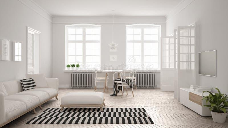 Φωτεινό μινιμαλιστικό καθιστικό με τον καναπέ και να δειπνήσει τον πίνακα, scandi απεικόνιση αποθεμάτων