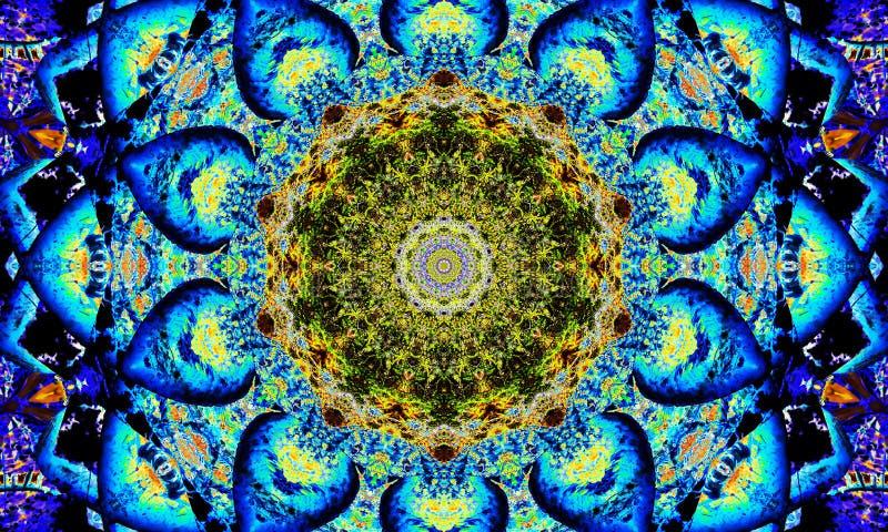 Φωτεινό μπλε και κίτρινο mandala απεικόνιση αποθεμάτων