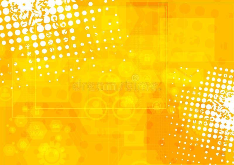 Φωτεινό πορτοκαλί υπόβαθρο τεχνολογίας grunge διανυσματική απεικόνιση