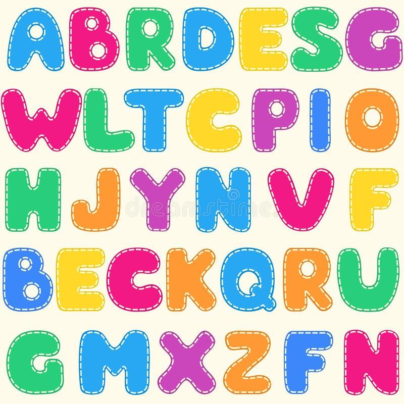 Φωτεινό πρότυπο αλφάβητου των άνευ ραφής παιδιών ελεύθερη απεικόνιση δικαιώματος