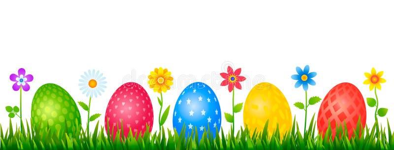 Φωτεινό πρότυπο Πάσχας για τις ευχετήριες κάρτες, εμβλήματα Σύνολο χρωματισμένων αυγών Πάσχας με τις διαφορετικές διακοσμήσεις σε διανυσματική απεικόνιση