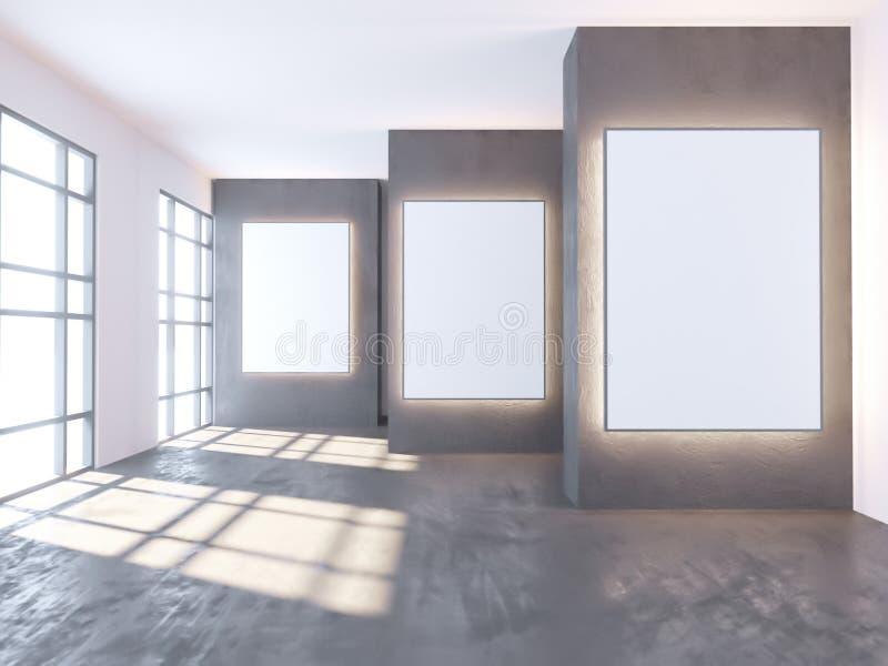 Φωτεινό συγκεκριμένο δωμάτιο με την κενή αφίσα Στοά, έκθεση, έννοια διαφήμισης Χλεύη επάνω, τρισδιάστατη απεικόνιση απεικόνιση αποθεμάτων