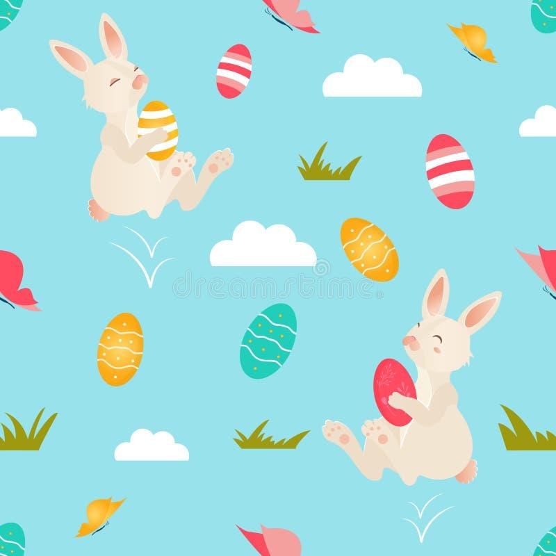Φωτεινό σχέδιο διακοπών με τα χαριτωμένα κουνέλια Πάσχας απεικόνιση αποθεμάτων