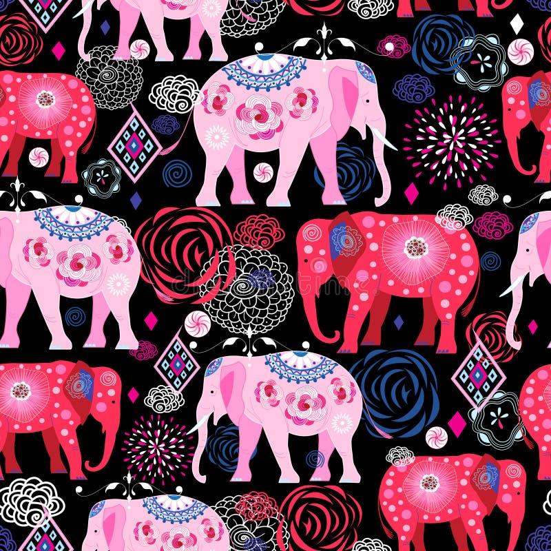 Φωτεινό σχέδιο των όμορφων ελεφάντων απεικόνιση αποθεμάτων