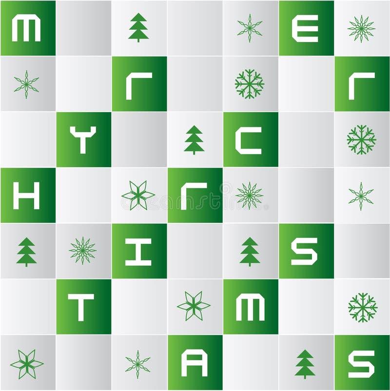 Φωτεινό υπόβαθρο κεραμιδιών μωσαϊκών με τα εικονίδια Χριστουγέννων διανυσματική απεικόνιση