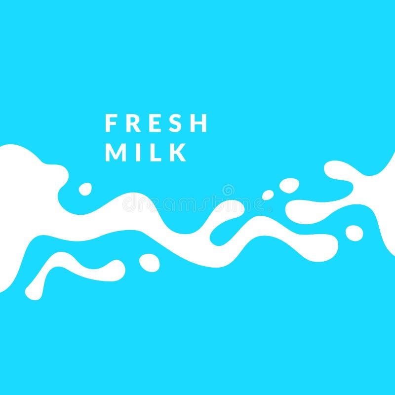 Φωτεινό φρέσκο γάλα αφισών με τους παφλασμούς σε ένα ανοικτό μπλε υπόβαθρο επίσης corel σύρετε το διάνυσμα απεικόνισης διανυσματική απεικόνιση