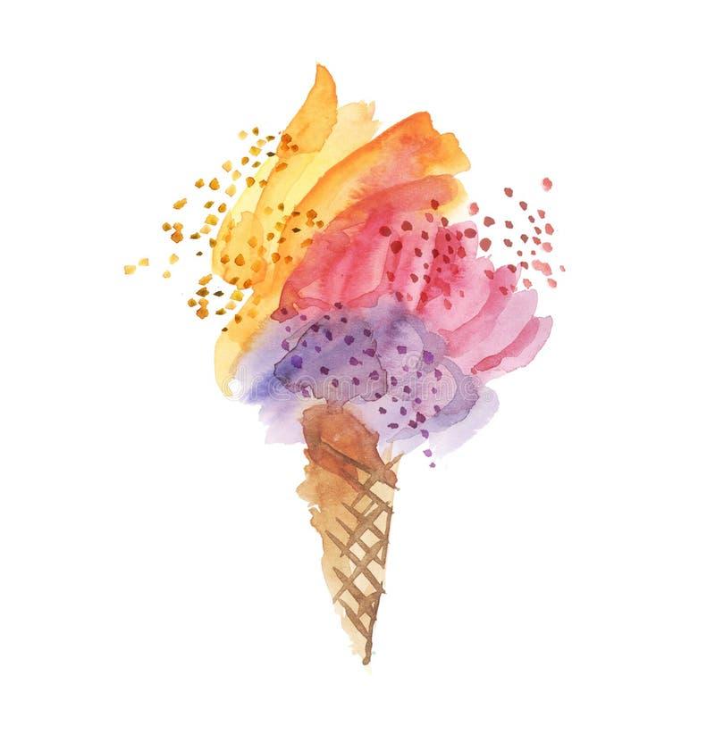 Φωτεινό χρώμα καρναβαλιού και καλλιτεχνικό παγωτό μορφής απεικόνιση αποθεμάτων