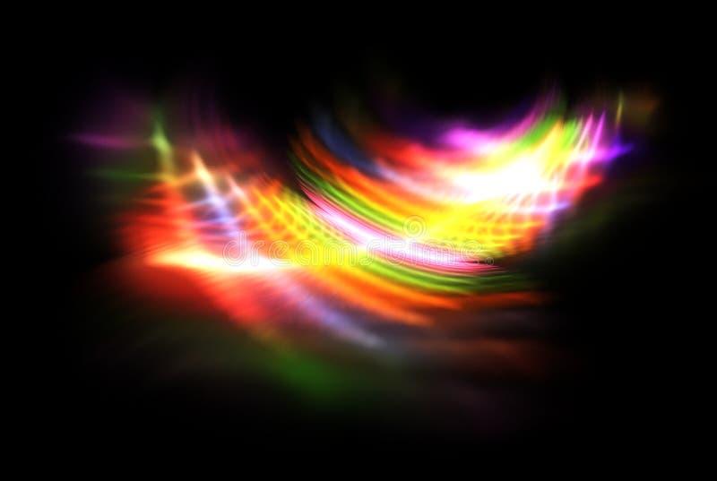 Φωτεινό fractal χρώματος στο Μαύρο απεικόνιση αποθεμάτων