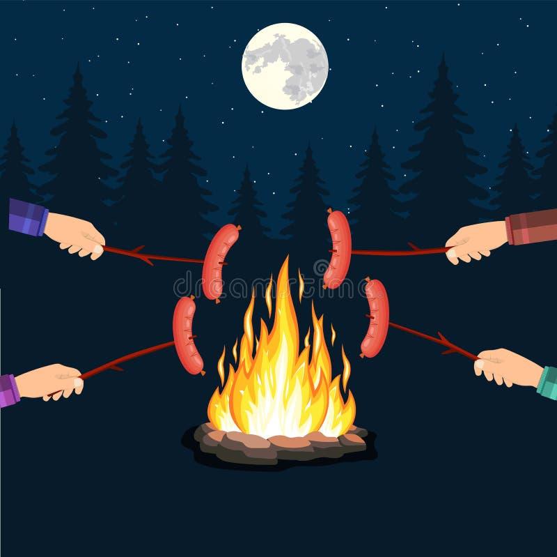 Φωτιά με το λουκάνικο σχαρών, διανυσματική απεικόνιση