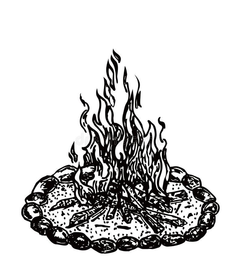 Φωτιά με το ξύλο που απομονώνεται στο άσπρο υπόβαθρο διανυσματική απεικόνιση