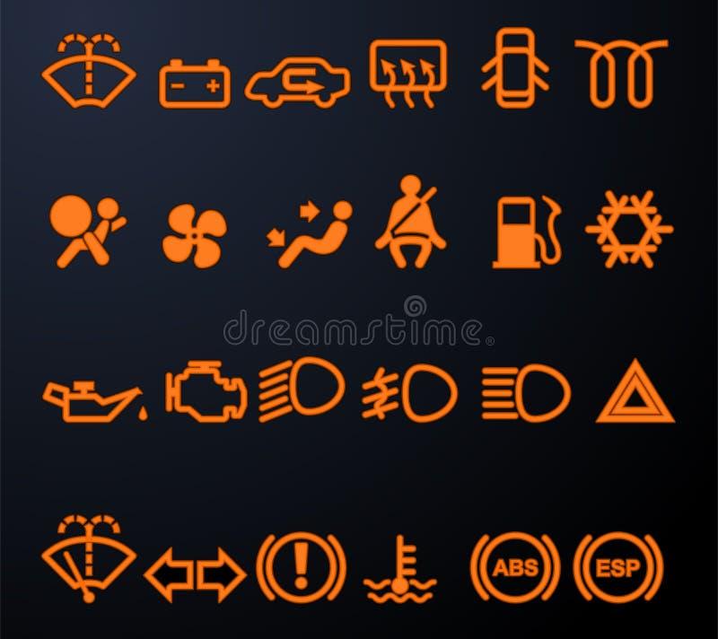 Φωτισμένα εικονίδια ταμπλό αυτοκινήτων διανυσματική απεικόνιση