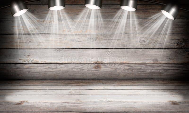 Φωτισμένη κενή σκηνή συναυλίας με τις ακτίνες του φωτός στοκ φωτογραφίες με δικαίωμα ελεύθερης χρήσης