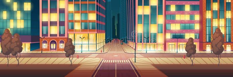 Φωτισμένη πόλη οδός νύχτας, κενό οδικό διάνυσμα απεικόνιση αποθεμάτων