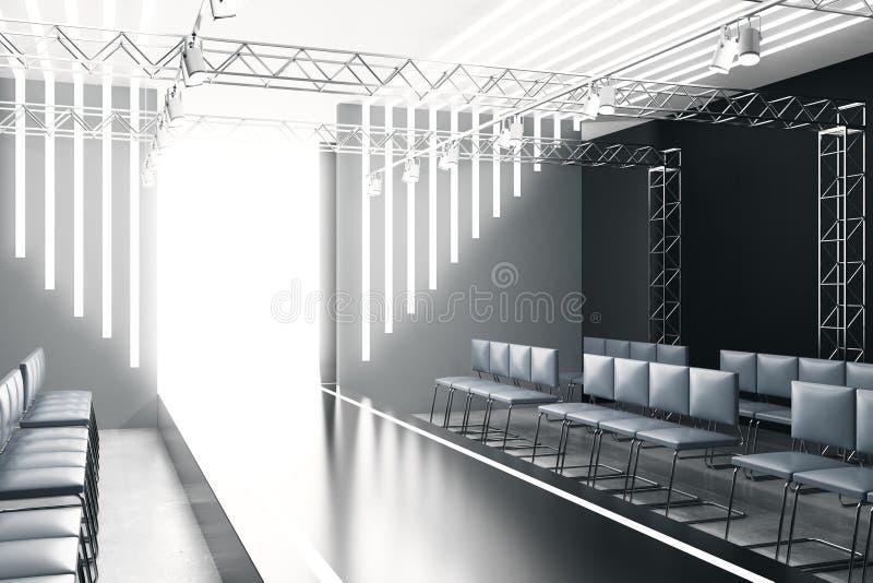 Φωτισμένος κενός διάδρομος μόδας ελεύθερη απεικόνιση δικαιώματος