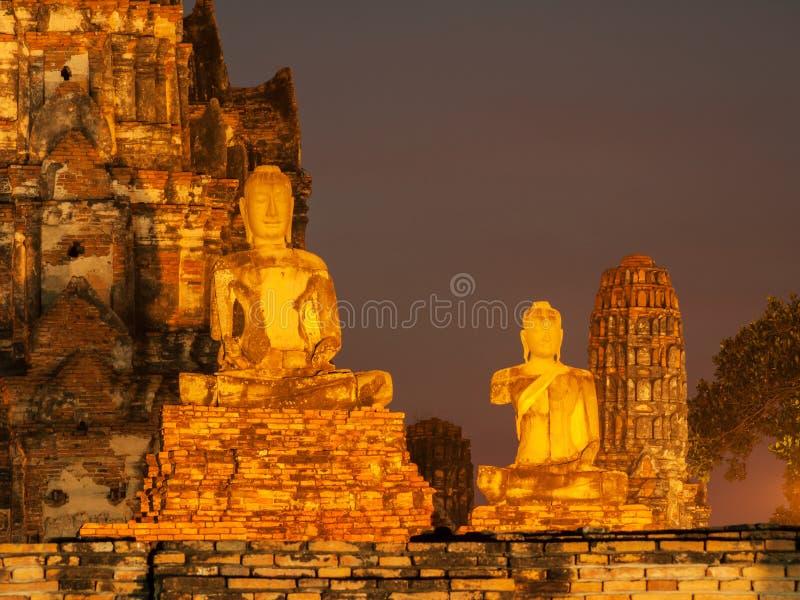 Φωτισμένος ναός σύνθετος σε Ayutthaya, Ταϊλάνδη στοκ εικόνες με δικαίωμα ελεύθερης χρήσης