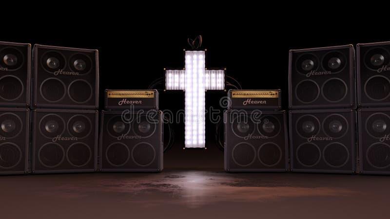 Φωτισμένος χριστιανικός σταυρός με τους ομιλητές ελεύθερη απεικόνιση δικαιώματος